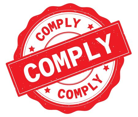 COMPLY text, written on red, lacey border, round vintage textured badge stamp.
