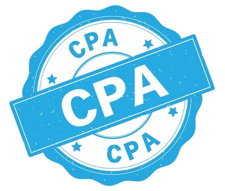 CPA text, written on cyan, lacey border, round vintage textured badge stamp.