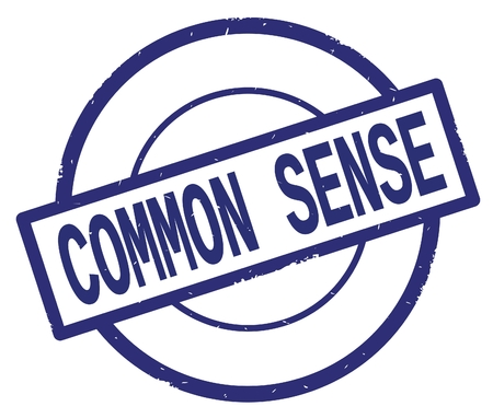 COMMON SENSE text, written on blue simple circle rubber vintage stamp.