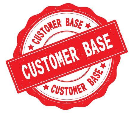 Texte de base de client, écrit sur la frontière rouge, dentelle, rond timbre de texture vintage. Banque d'images - 90319436