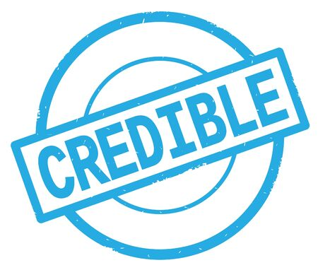 CREDIBLE text, written on cyan simple circle rubber vintage stamp.