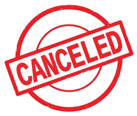 CANCELED text, written on red simple circle rubber vintage stamp.