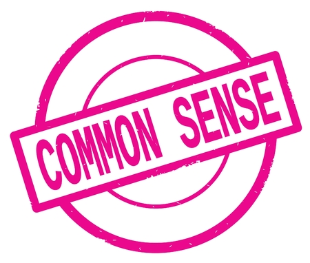 COMMON SENSE text, written on pink simple circle rubber vintage stamp.