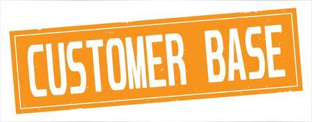 Texte de base de client, sur le signe de timbre texturé vintage de rectangle orange complet. Banque d'images - 90386561