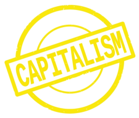 CAPITALISM text, written on yellow simple circle rubber vintage stamp. Banco de Imagens - 90390902
