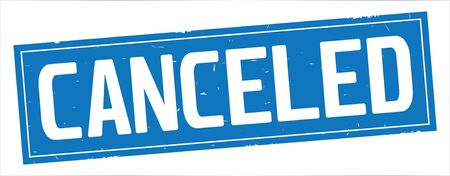 CANCELED text, on full blue rectangle vintage textured stamp sign. Banco de Imagens