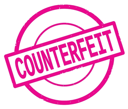 COUNTERFEIT text, written on pink simple circle rubber vintage stamp.