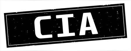 CIA text, on full black rectangle vintage textured stamp sign. Banco de Imagens - 90391060