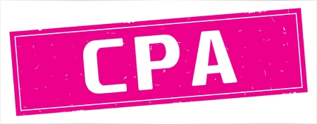 CPA text, on full pink rectangle vintage textured stamp sign. Stock Photo