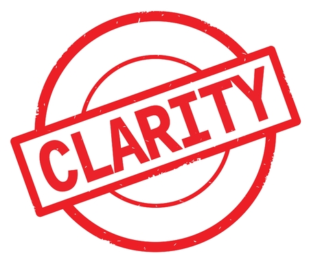 CLARITY text, written on red simple circle rubber vintage stamp.