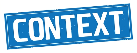 CONTEXT text, on full blue rectangle vintage textured stamp sign. Stock Photo