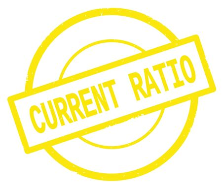 CURRENT RATIO text, written on yellow simple circle rubber vintage stamp. Stock Photo