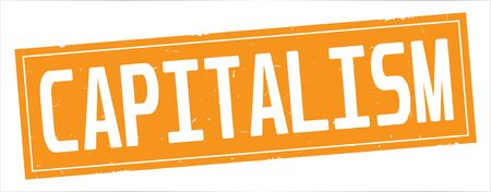 CAPITALISM text, on full orange rectangle vintage textured stamp sign.