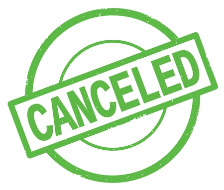 CANCELED text, written on green simple circle rubber vintage stamp.
