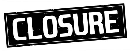 CLOSURE text, on full black rectangle vintage textured stamp sign. Banco de Imagens