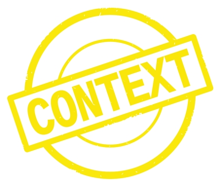 CONTEXT text, written on yellow simple circle rubber vintage stamp. Stock Photo