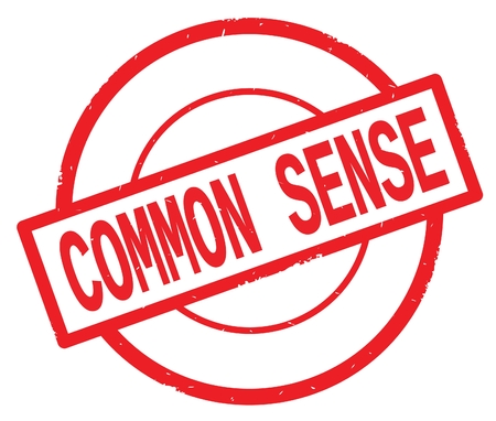 COMMON SENSE text, written on red simple circle rubber vintage stamp. Stock Photo
