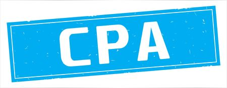 CPA text, on full cyan rectangle vintage textured stamp sign.