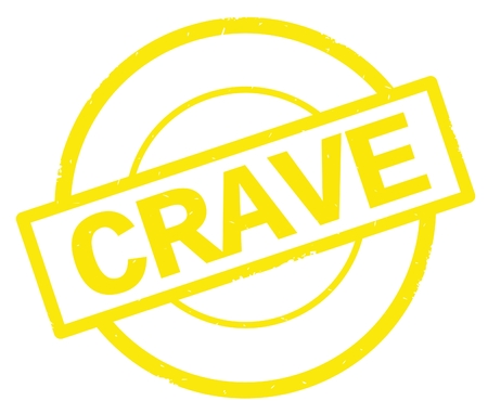 CRAVE text, written on yellow simple circle rubber vintage stamp.