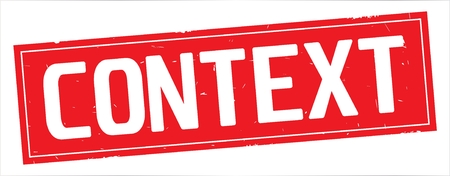 CONTEXT text, on full red rectangle vintage textured stamp sign.