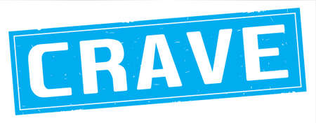 CRAVE text, on full cyan rectangle vintage textured stamp sign. Stock Photo