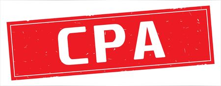 CPA text, on full red rectangle vintage textured stamp sign.