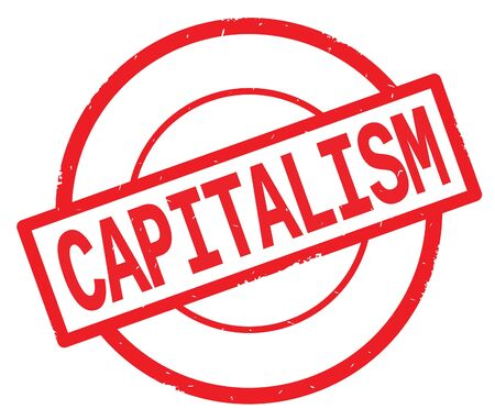 CAPITALISM text, written on red simple circle rubber vintage stamp. Banco de Imagens