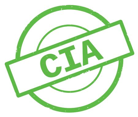 CIA text, written on green simple circle rubber vintage stamp.
