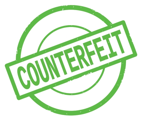 COUNTERFEIT text, written on green simple circle rubber vintage stamp. Фото со стока - 90392319