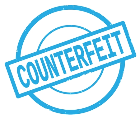 COUNTERFEIT text, written on cyan simple circle rubber vintage stamp.