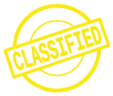 CLASSIFIED text, written on yellow simple circle rubber vintage stamp.