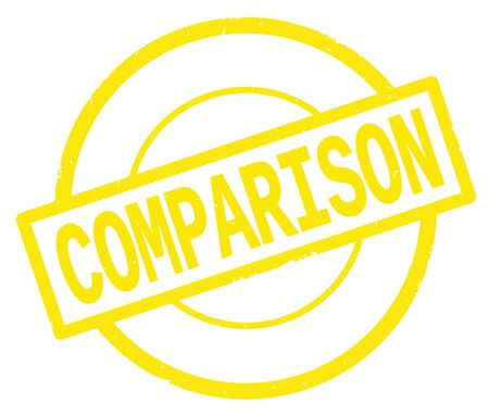 COMPARISON text, written on yellow simple circle rubber vintage stamp.