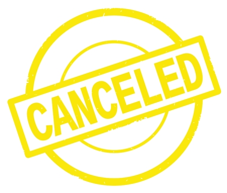 CANCELED text, written on yellow simple circle rubber vintage stamp.
