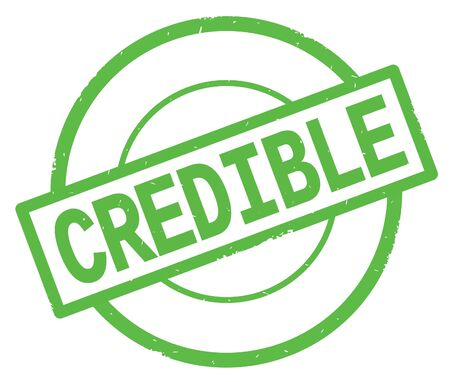 CREDIBLE text, written on green simple circle rubber vintage stamp.
