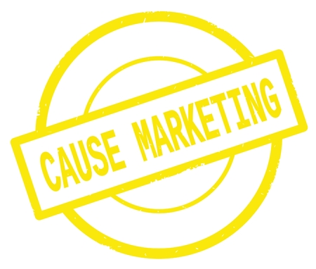 CAUSE MARKETING text, written on yellow simple circle rubber vintage stamp.
