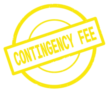 CONTINGENCY FEE text, written on yellow simple circle rubber vintage stamp. Stock Photo