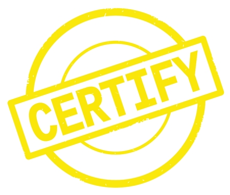 CERTIFY text, written on yellow simple circle rubber vintage stamp.