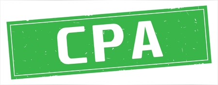 CPA text, on full green rectangle vintage textured stamp sign.