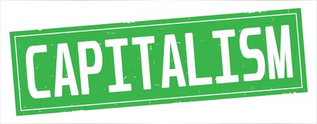 CAPITALISM text, on full green rectangle vintage textured stamp sign.