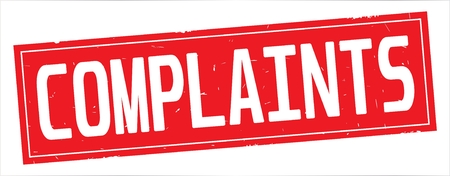 COMPLAINTS text, on full red rectangle vintage textured stamp sign.