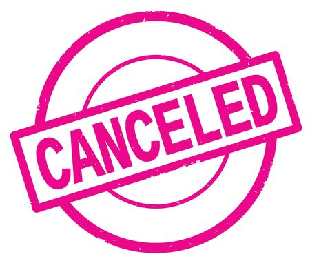 CANCELED text, written on pink simple circle rubber vintage stamp.