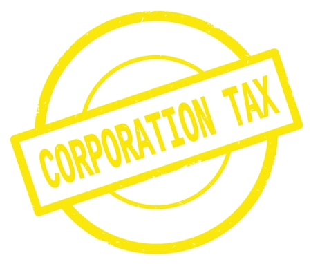 CORPORATION TAX text, written on yellow simple circle rubber vintage stamp.