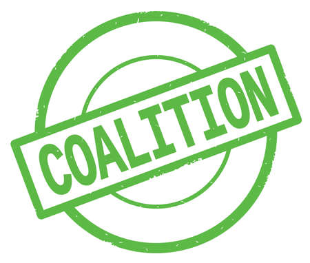 COALITION text, written on green simple circle rubber vintage stamp.