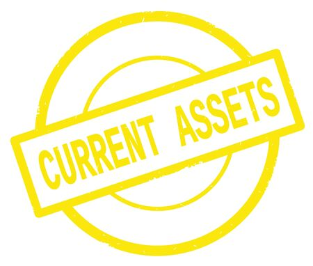 CURRENT ASSETS text, written on yellow simple circle rubber vintage stamp. Stock Photo