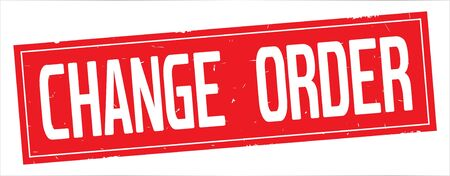 CHANGE ORDER text, on full red rectangle vintage textured stamp sign. Stok Fotoğraf