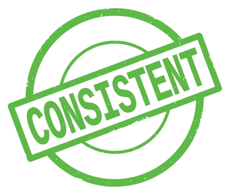 CONSISTENT text, written on green simple circle rubber vintage stamp.
