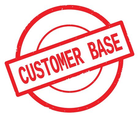 Texte de base de client, écrit sur le timbre vintage en caoutchouc de cercle simple rouge. Banque d'images - 90512650