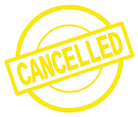 CANCELLED text, written on yellow simple circle rubber vintage stamp.