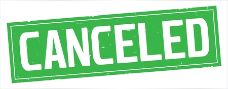 CANCELED text, on full green rectangle vintage textured stamp sign.