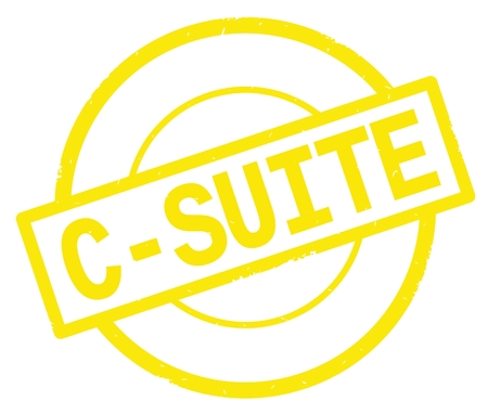 C SUITE text, written on yellow simple circle rubber vintage stamp.